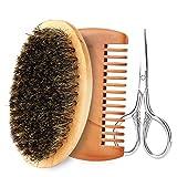 SonewKit de cuidado de barba para hombre, cepillo para barba, peine para barba y tijeras profesionales para bigote, set de regalo de limpieza, 3, 1 uds. por paquete, 1.00[set de ]