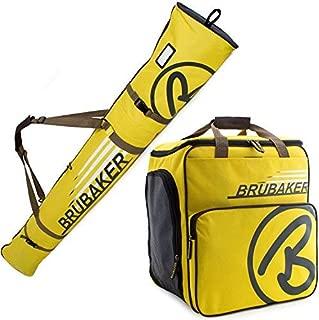 BRUBAKER Champion Combo - Limited Edition - Ski Boot Bag and Ski Bag for 1 Pair of Ski, Poles, Boots and Helmet