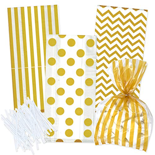 100 Gold Cellophane Bags with Twist Ties for Baby Shower Boy Favor Goodie Bags in Polka Dot, Stripes and Chevron Design