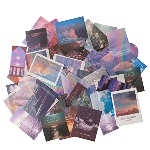 Vintage Nature Stickers Set, 100 Pieces Moon Star Starry Light Colorful Sky Cloud Rainbow Sea Surface Sunrise Sunset Afhesive Decorative Label for Scrapbooking Journaling Planner Cards Laptop