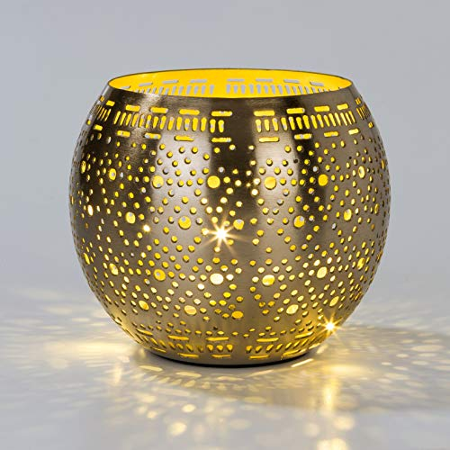 Talking Tables Party Dekorationen Metall Kerzenhalter Laterne mit LED Lichterkette, Gold, One Size