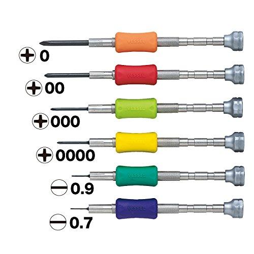 VESSEL - Juego de destornilladores de precisión TD-56S/+0, 00, 000, 0000, -0.7, -0.9