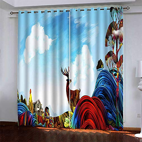 MMHJS European-Style Simple And Versatile Style Forest Fawn 3D Printing Curtains Polyester Quick-Drying Curtains Curtains Living Room Bedroom Blackout Gauze Window 2