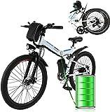"26"" Electric Mountain Bike for adults Folding Electric Bike,36V 8AH Removable Battery 250W Motor,21-Speed Ebike Electric Commuter Mountain Bike,Electric Outdoor Mountain Bike (White)"