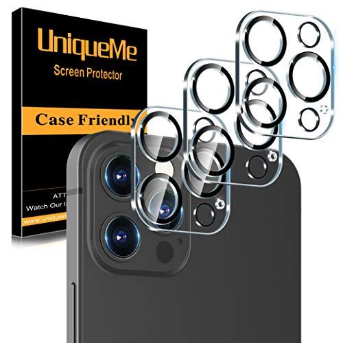[3 Pack] UniqueMe Protector de Lente de cámara Compatible con iPhone 12 Pro Max (6.7 pulgadas) Cristal Templado, [9H Dureza ] [Sin Burbujas] HD Vidrio Templado