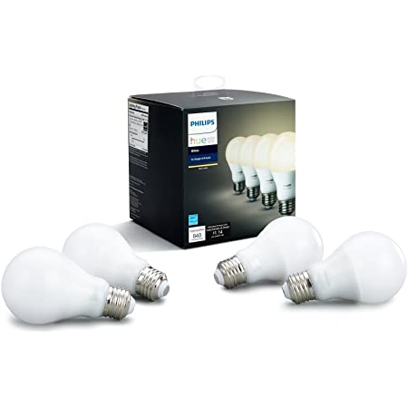 Philips Hue 472027 Hue A19 LED Smart Bulbs (4 Pack), 60W Equivalent (Compatible with Amazon Alexa, Apple Home Kit, and Google Assistant), 4 Count (Pack of 1), Soft White