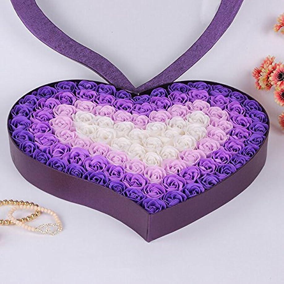 臨検付添人吸収Takefuns ソープフラワー 石鹸 枯れない花 バラ 100個セット ボックス ハート型 手作り 洗う お風呂 香り キレイ 創意ギフト 誕生日 結婚お祝い バレンタインデー 記念日 ロマンチック プレゼント (パープル)
