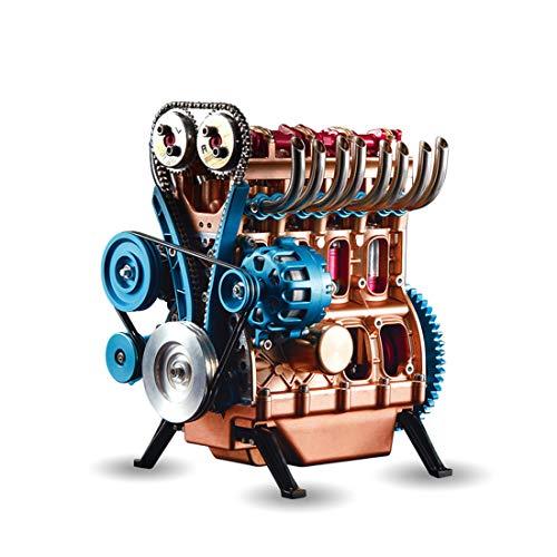 Yavso 4 Zylinder Motor Bausatz - Metall Engine Teching Motor Bausatz Custom Bausteine Erwachsene