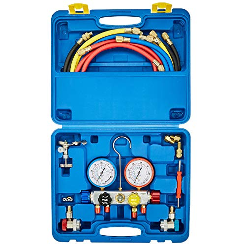 Orion Motor Tech 4 Way AC Diagnostic Manifold Gauge Set, Fits R134A R410A and R22 Refrigerants, with 5FT Hoses, 3 Acme Tank Adapters, Adjustable Couplers and Can Tap