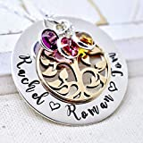 Personalized Tree of Life Birthstone Name Necklace Gift for Mom Grandma from Grandchildren Daughter Sterling Silver and Bronze