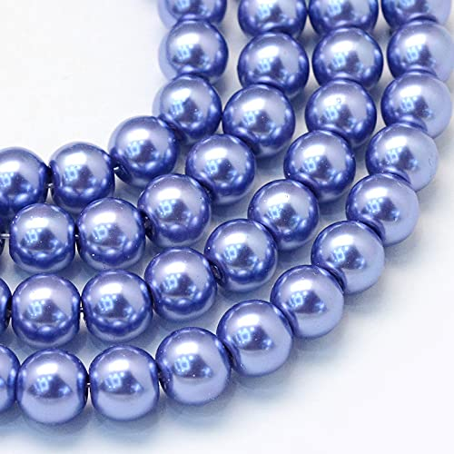Cheriswelry - Cuentas de perlas de cristal de 8 mm, cuentas redondas de perlas, cuentas de perlas de imitación pintadas para joyería, pulseras, pendientes, paquete de más de 200, azul pizarra