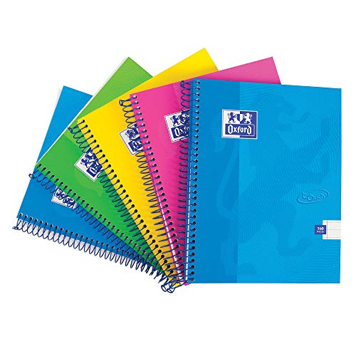 Oxford Touch, Quaderno con copertina rigida, 160 pagine, confezione da 5, colori assortiti Pacco da 5 A5 Multicolore