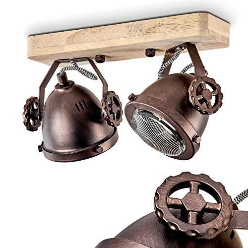 Deckenleuchte Herford, verstellbare Deckenlampe aus Metall/Holz/Glas in Braun/Kupfer/Natur, 2-flammig, 2 x GU10-Fassung, max. 50 Watt, dreh- u. schwenkbarer Spot im Retro Design, LED geeignet