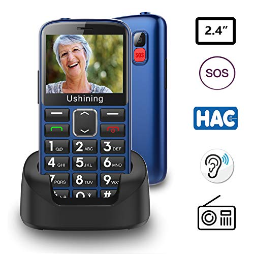Ukuu Seniorenhandy ohne Vertrag mit großen Tasten 2,3 Zoll GSM Tastenhandy Dual SIM Handy SOS Notruftaste Ladestation und Kamera Mobiltelefon 1000 mAh Akku Lange Standby-Zeit, Blau