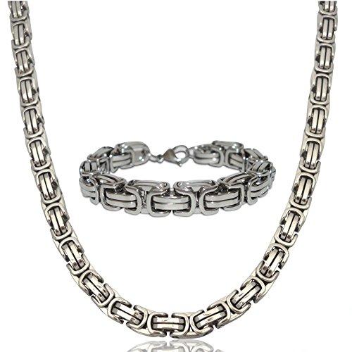 Herren Edelstahl Ketten-Set Halskette Armkette Armband Edelstahlkette 12mm Königskette Silber Silberweiß (Halskette + Armkette)