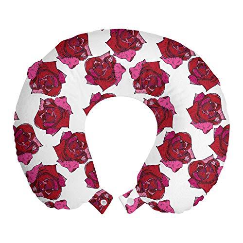 ABAKUHAUS Rosen Reisekissen Nackenstütze, Flüchtiges abstraktes Blumenbild, Schaumstoff Reiseartikel für Flugzeug und Auto, 30x30 cm, Himbeerrosa