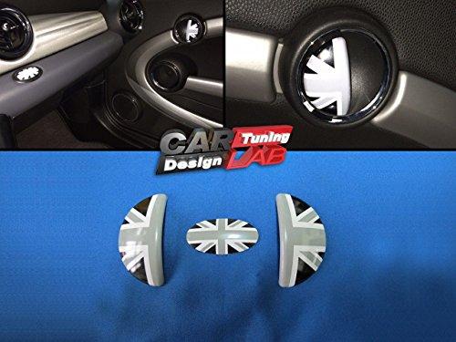 Innentürgriffabdeckung mit schwarzem Union Jack-Logo aus Aluminium für Mini Cooper S R55R56, 3-teilig