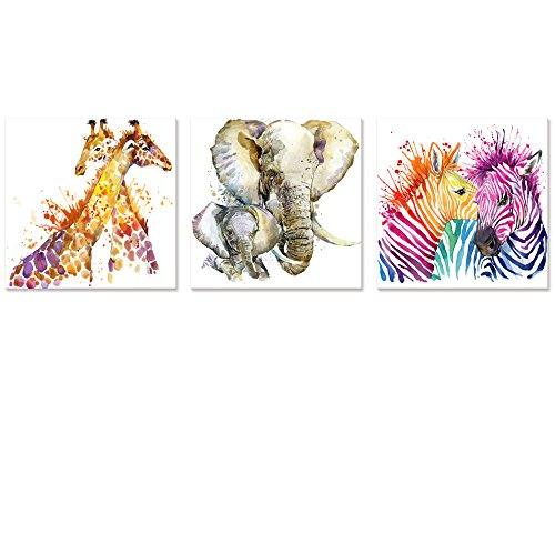 Visual Art Decor Abstract Animals Canvas Wall Art Zebra Giraffe Elephant Wall Decal Art Animals Watercolor Painting Prints Decor for Bedroom Living Room Classroom Gift for Kids