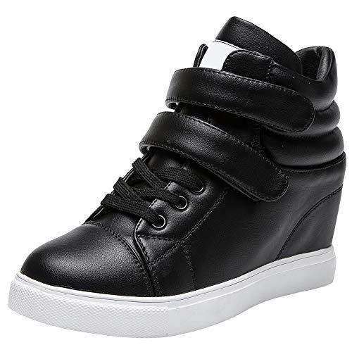 amropi Mujer Cuña Interior Tops Altos Gancho y Bucle Casual Zapatillas de Moda(Negro,36.5 EU)