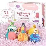 Lagunamoon Badebomben für Kinder mit Spielzeug im Inneren, 6PCS Natural Fizzies, Grausamkeitsfrei, vegane sichere Badebomben Geschenkset für alle Hauttypen, auch für empfindliche Haut