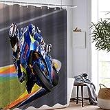 PLBB3K Racing-Auto-Motorrad-Duschvorhang Drucken Wasserdicht Flugzeug Surf Extreme Sport Duschvorhang Waschbar Badezimmer-Vorhang-150x180cm (Size : 120x180cm)