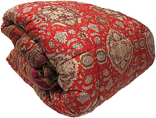 Edredón de invierno para cama de matrimonio Granfoulard San Marco R1 rojo – Tejido de raso algodón 110 hilos retro de tela de algodón – Relleno de poliéster 320 g/m2 – Fabricado en Italia