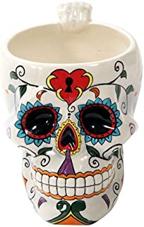 Pacific Giftware White Tribal Day of The Dead Love Lock Sugar Skull Ceramic Drink Coffee Mug Cup