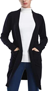 Women's Boho Long Sleeves Open Front Cable Knited Cardigan Pointelle Pullover Sweater
