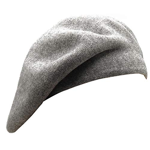 French Beret Hat,Reversible Solid Color Cashmere Beret Cap for Womens Girls Lady Adults (Gray) Connecticut
