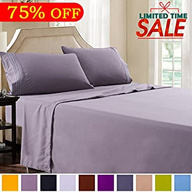 Shilucheng Bed Sheet Set Microfiber 1800 Threads Egyptian Super Soft Sheets 16-Inch Deep Pocket - Hypoallergenic - 4 Piece (King, Grey)