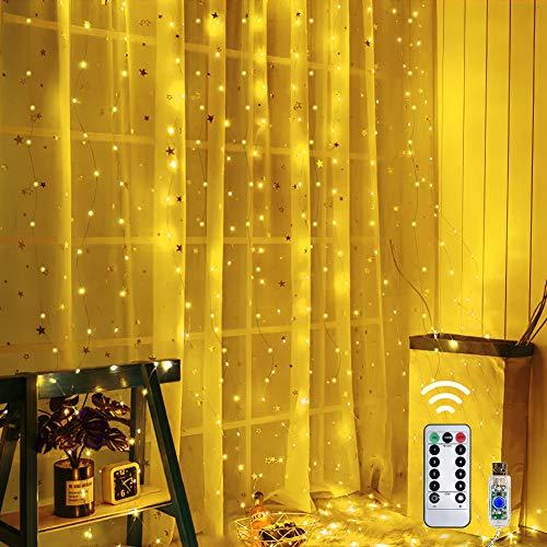 Shine4fun Tenda luminosa, 300 LEDs Tenda di Luci 3 x 3m Telecomando 8 Modalità di Illuminazione Impermeabile Stringa Luce Catena per Decorare Interni e Esterni Salotto Natale Matrimonio