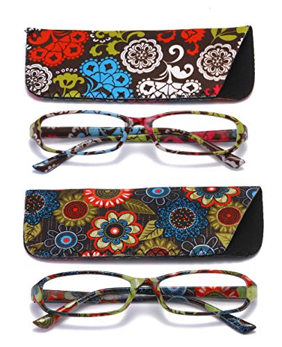 Price comparison product image SOOLALA 2-Pair Designer Fashionable Spring Hinge Rectangular Reading Glasses w / Matching Pouch,  RedYellow,  1.5