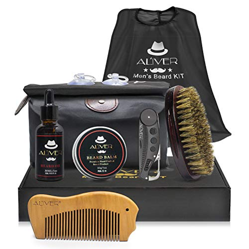 Beard Grooming Trimming Gift Set with Apron for Men, Beard Care Kit,Beard Oil Mustache Beard Balm, Beard Brush, Comb and Travel Bag, Best for Shaping Mustache Moisturizing (Apron Set)