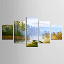 GYSS 5 Pieces Painting Canvas Painting Landscape Boat In The River Canvas Art Home Decoration Scenery Picture Decor 5 panel 5 painting