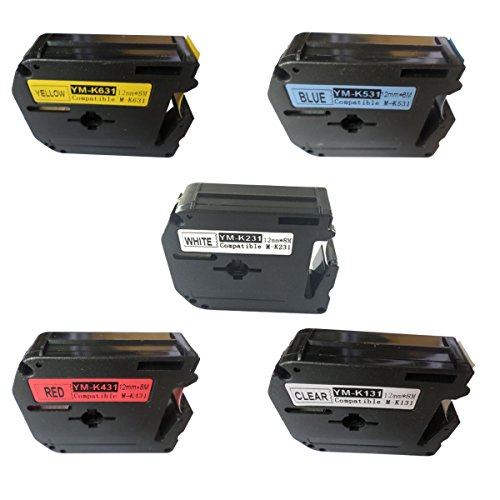 NEOUZA Compatible for Brother Label Tape 12mm Combo Set 5 Packs P-Touch MK131 MK231 MK431 MK531 MK631 (M-K131 M-K231 M-K431 M-K531 M-K631)