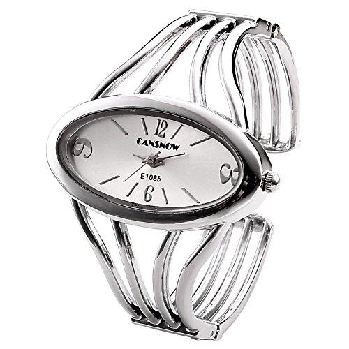 JSDDE Uhren, Elegant Damen Oval Spangenuhr Armbanduhr Metall Band Armreif Manschette Analoge Uhr Quarzuhr Kleideruhr für Frauen (Silber Band-Gold Dial)