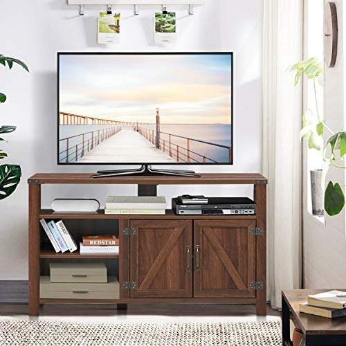 ana1store 47' Walnut Wood Enjoyment Bar Cute Barn House Style Utility Spacious Storage, Table Top 2 Adaptable Shelves, Doors Chest Stable 5 Legs Cupboard Console TV Stand Cabinet 47'x15.5'x27.5'