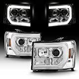 For 2007-2014 GMC Sierra 1500 2500 3500 LED Light Tube Chrome Projector Headlight Driver + Passenger