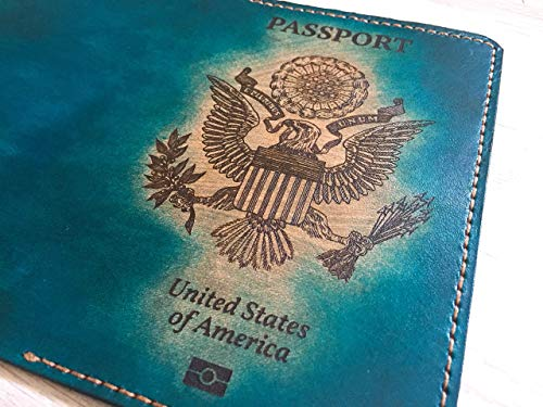 US American United States leather handmade passport cover holder wallet personalized travel gifts