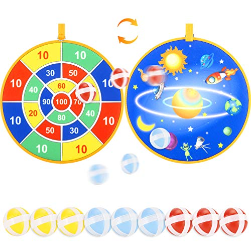 Kids Board Games, Double Sided Safe Dart Board for Kids with 9 Sticky Balls and 13.6 Inches Dartboard, Best Outdoor Indoor Sports Family Party Toys Game Gifts for Boys Girls Children