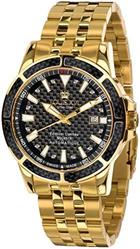 LOUIS XVI Herren-Armbanduhr Majesté Stahlband Gold Schwarz Karbon echte Diamanten Automatik Analog Edelstahl 891