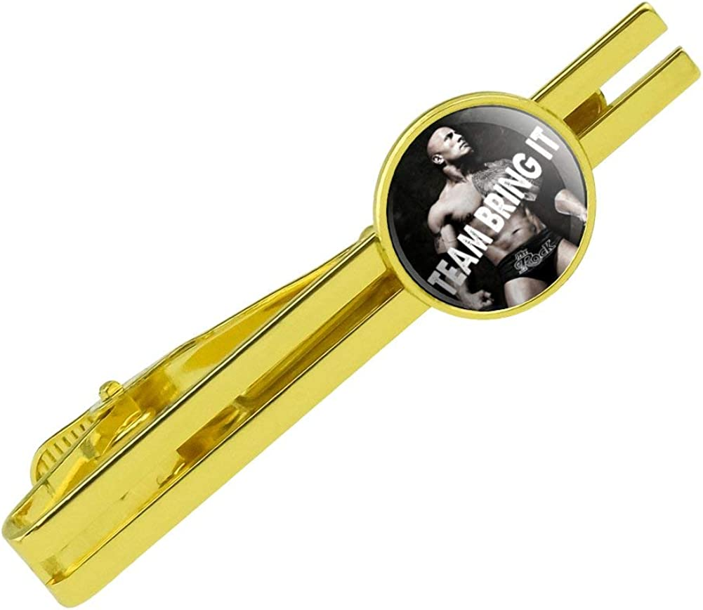 GRAPHICS & MORE WWE The Rock Just Bring It Round Tie Bar Clip Clasp Tack Gold Color Plated