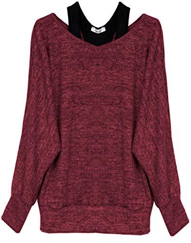 Van Der Rich ® - Oversize Oberteile Tshirt/Pullover (2 Stück) / Made In Italy - Damen (XL-XXL, Bordeaux)