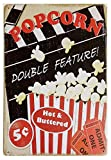 metálica Cartel Diseño Palomitas de maíz, doble función, caliente y untado con mantequilla, retro, decoración vintage, cartel de chapa de metal, 12x8 pulgadas