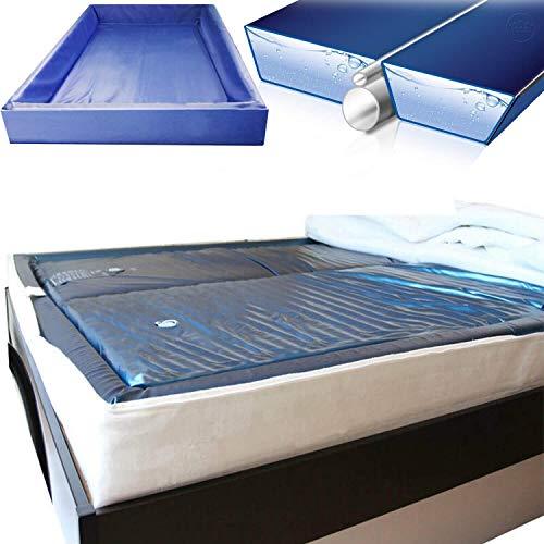 Set aus 2X Traumreiter MyBudget Wasserbett Matratze Softside 1x Sicherheitswanne 1x Trennkeil Air I Wasserbett Dual Wasserkern Wassermatratze Wasserbettmatratze (unberuhigt 0% freeflow, 180 x 200 cm)