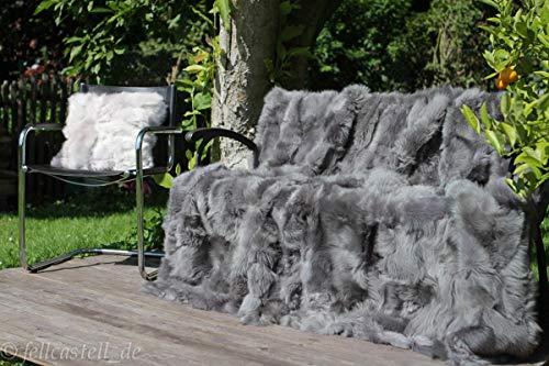 fellcastell Toscana Lammfelldecke 200x155 cm Stone Grey Patchwork Rückseite Leder echtes Lammfell