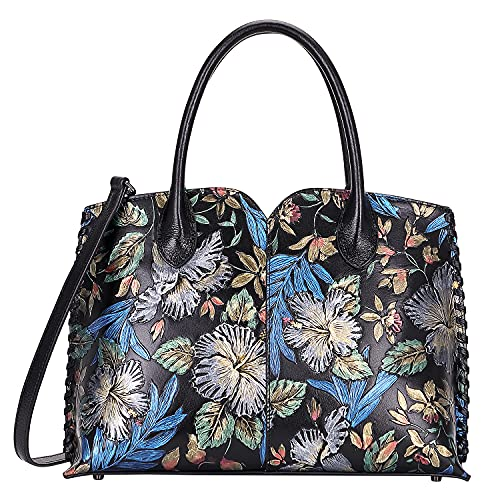 PIJUSHI Designer Floral Purse Women's Handbags Top Handle Satchel Tote Bags (65102 Black Floral)