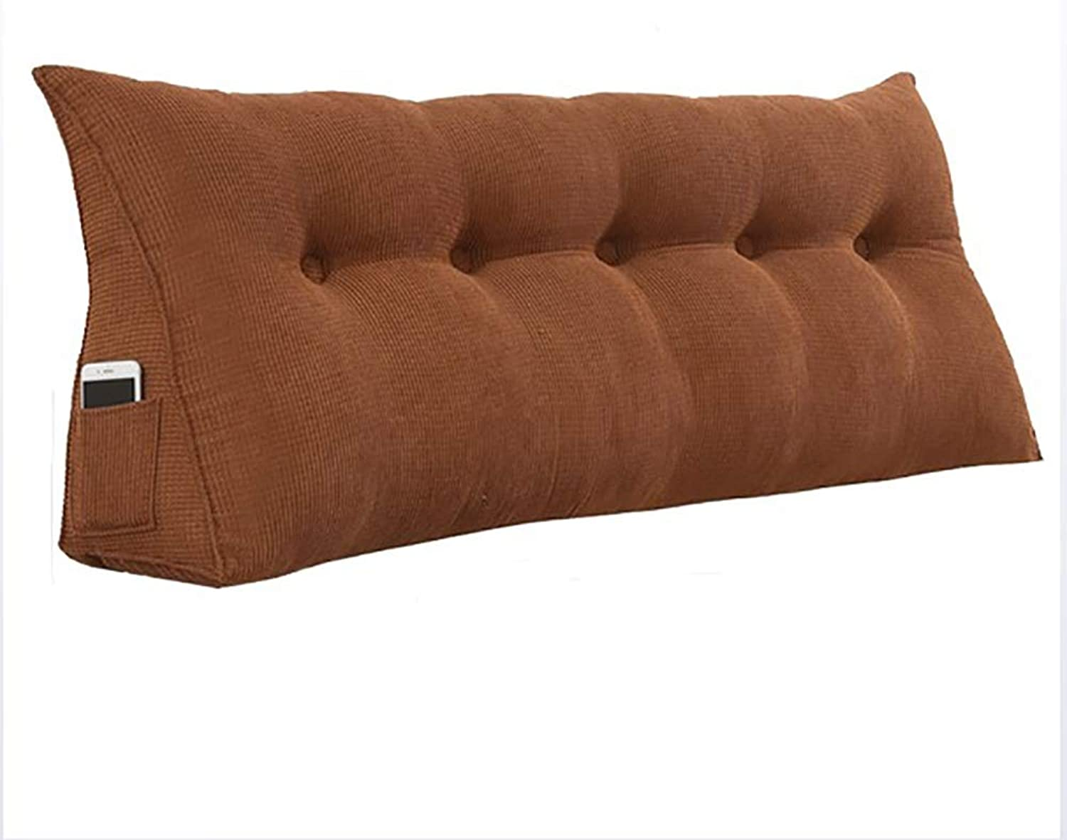 LXLIGHTS Upholstered Headboard Bedroom Anti-Collision Bed Wedge Waist Pad Bedside Cushion Bay Window Sofa Pillow Soft Case (color   Brown, Size   180  50  22cm)