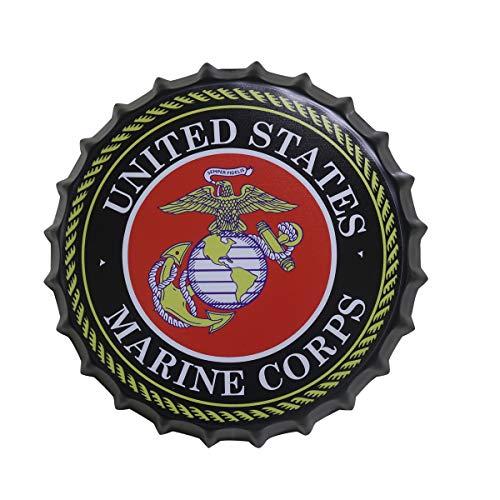 2but US Marine Corps - Tapas decorativas para botellas de metal, letreros de lata para café, cerveza, bar, placa decorativa de 35 cm