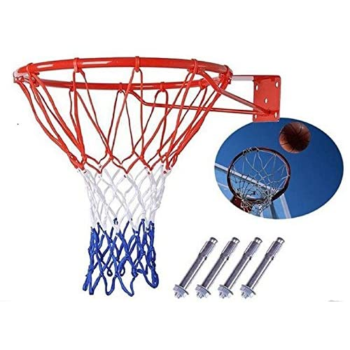 "Wollowo Full Size 18/"" Wall Mounted Hanging Basketball Ring Hoop Net Strong /& Sturdy Fixings Included"